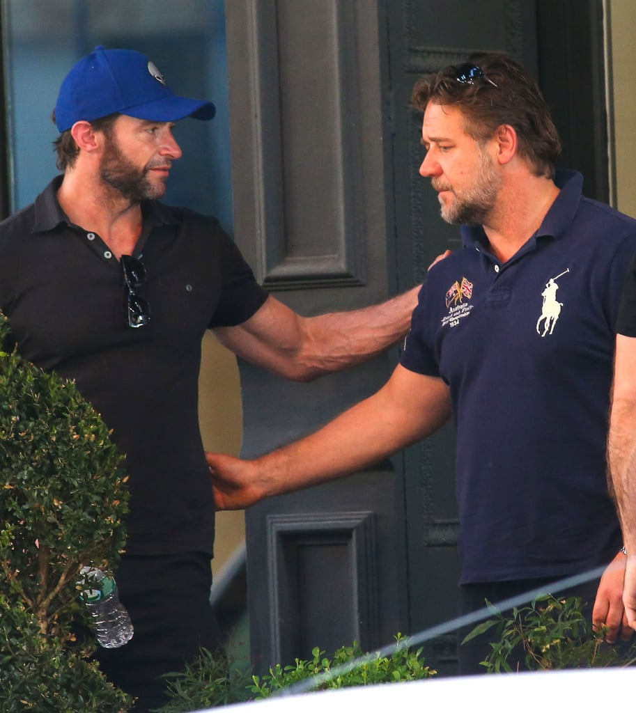 "Hugh Jackman and Russell Crowe had a mini Les Misérables reunion in NYC on Sunday when they met up at Hugh's coffee shop, Laughing Man, for a cup of joe with friends. Hugh isn't the only former costar that Russell reunited with yesterday, as he also went to see Carla Gugino, who played his ex-wife in American Gangster, in her new play, A Kid Like Jake. After the performance, Russell tweeted about meeting with Carla again, saying that she has ""flaming, fiery, fantastic red hair"" for her current role and that she ""looks amazing."" Russell is currently in town to attend the Man of Steel premiere today while Hugh is taking a break from filming X-Men: Days of Future Past with costars Jennifer Lawrence and Halle Berry. Even though Hugh was in town, he skipped out on the Tony Awards, which took place last night."