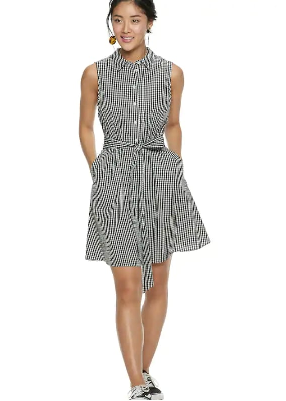 Chiffon Shirt Dress in Gingham