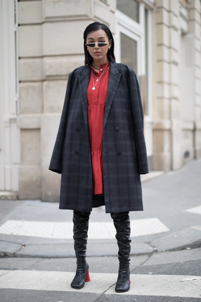 Style Slouchy Thigh-Highs With a Red Dress and Plaid Coat