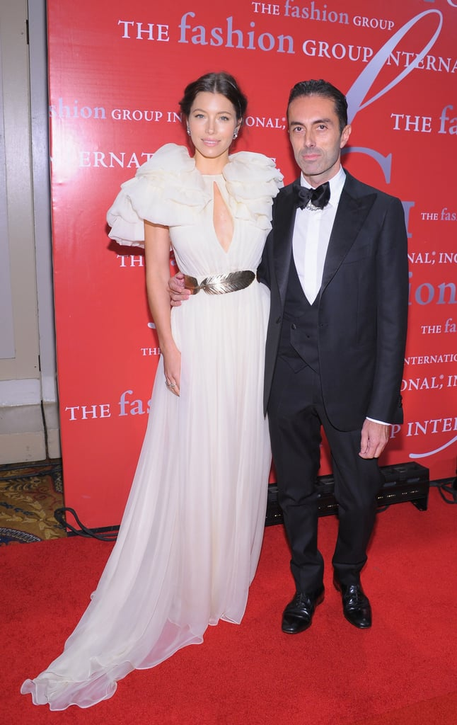 Jessica Biel and designer Giambattista Valli at Fashion Group International's 28th annual Night of Stars at Cipriani Wall Street.