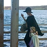 Angelina Jolie led the way for her daughter Vivienne Jolie-Pitt as they headed home from a family vacation in the Galapagos Islands.