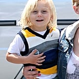 Zuma Rossdale flashed a happy smile.