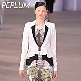 Why we love it: Peplums are the perfect mix of pretty and refined. The once-old-school embellishment received a face-lift for Spring thanks to designers' new take on the trend. We're swooning over Preen's streamlined black and white peplum blazer. How to wear it: Let the peplum do all the popping in your outfit by styling it with slim-cut dresses and bottoms. Photo: Preen Spring 2012