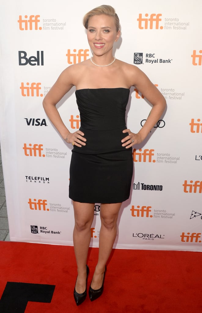 Scarlett Johansson chose a black strapless Saint Laurent minidress and matching pumps for the Don Jon premiere at the Toronto International Film Festival.