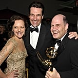 Jon Hamm, Elisabeth Moss, and Matthew Weiner after the Emmys.