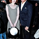 Karen Elson joined Robert Duffy at the Marc Jacobs runway show in a neutral dress.