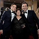 Rami Malek and his mom (with Jon Hamm)