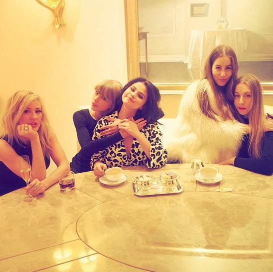 """Taylor Swift celebrated International Women's Day with a picture-perfect tea party alongside Selena Gomez, Ellie Goulding, and two of the Haim sisters on Sunday. The famous friends took to Instagram to share snaps of their afternoon date, and Taylor captioned her photo with an empowering message, writing, """"We are at our best when we cheer each other on and build each other up."""" Meanwhile, Selena posted a sweet snap with Taylor, and Ellie shared a group photo, writing, """"Well this is bloody CHILL."""" The girls' day out comes just a few days after Taylor hosted a star-studded party for Fifth Harmony's Camila Cabello, which also included Selena, Jaime King, Sarah Hyland, and Hailee Steinfeld. Keep reading to see all the cute snaps from the group's tea party, then check out Taylor's latest charitable act, which may just bring you to tears."""