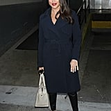 Meghan Wearing a Belted Navy Coat
