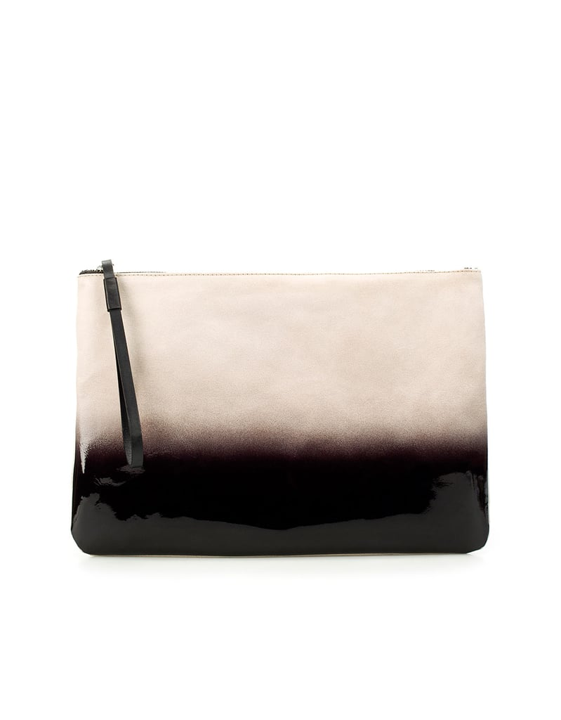 This suede colorblocked clutch will add a chic touch to any look. We love the idea of pairing it with jeans and and a white blazer.  Suede Graduated Color Clutch ($100)