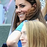 Kate wore her hair loose at Wimbledon.