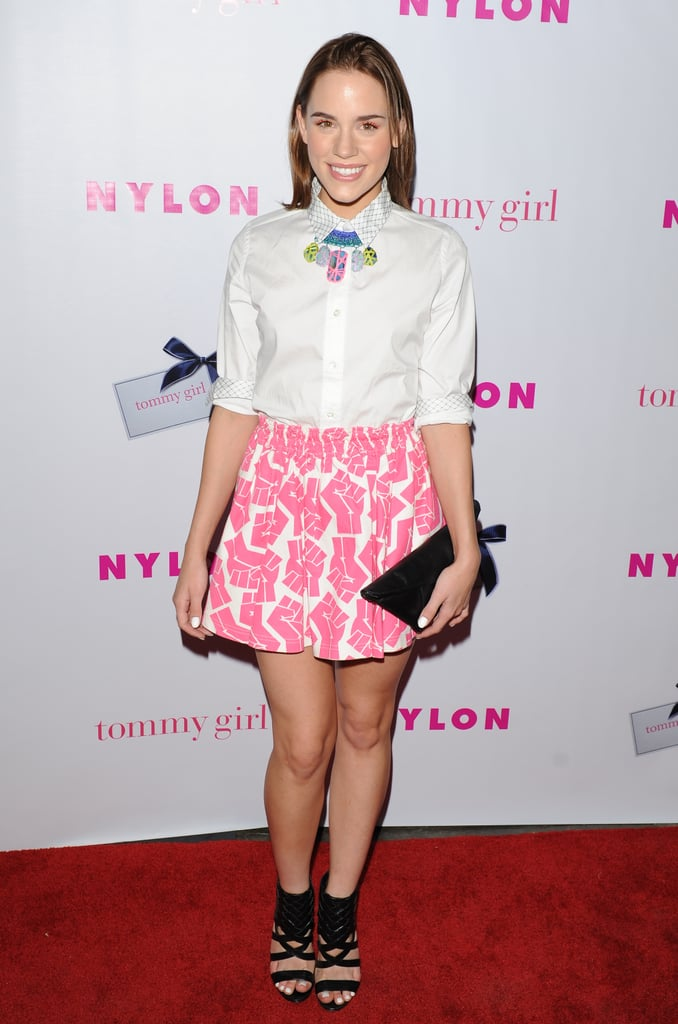 At a Nylon bash in Hollywood in May, Christa showed off her colorful side in a pink printed miniskirt, Kelsey Quan colorful bib necklace ($395), a Kzeniya clutch, and hardcore Vince Camuto ankle-strap sandals ($98, originally $118).  6904733