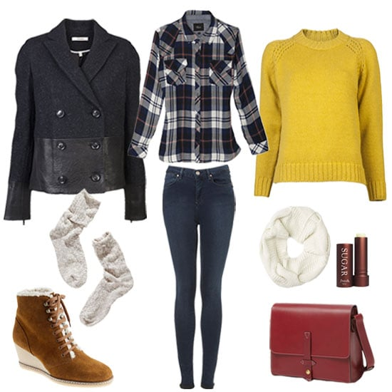 For the girl who wants to keep her off-duty classic, chic, but most of all, super casual, pair a cool combination of plaid print, knitted layers, and a mixed-media coat to achieve your desired effect. We love the juxtaposition of a traditional plaid pattern against a bold mustard hue, maybe just as much as we love the fur-lined booties, burgundy bag, and leather-paneled peacoat together. Any way you spin it, you've got a layered-up look that's going to keep you warm (and cute) all Winter long. Shop the look:   Rails Plaid Shirt ($128)  A.P.C. Pull-On Sweater ($280)  Topshop Moto Vintage Skinny Leigh Jeans ($76)  J Brand Alberta Peacoat ($995)  Rag & Bone Felted Cable Circle Scarf ($110, originally $220)  Fresh Sugar Lip Balm SPF 15 ($23)  IIIBeCa by Joy Gryson Duane Crossbody Bag ($158)  Madewell Wigwam Cypress Socks ($12)  J.Crew MacAlister Shearling Wedge Boots ($170, originally $250)