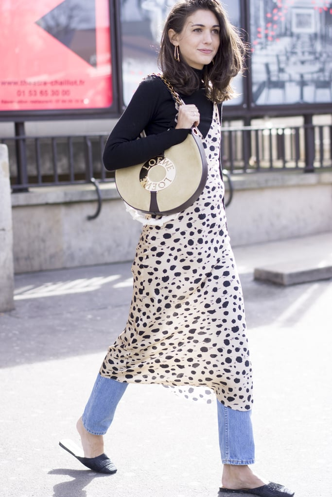 A Slip Dress and Turtleneck Over Jeans With Easy Slides