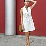 A little white dress in a contemporary cut.