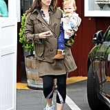 Jennifer Garner carried her son, Samuel, out to the car after brunch on Thursday.