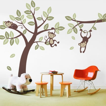 Simple Shapes Three Monkey Tree and Branch Vine ($125)