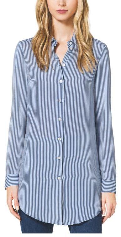 Michael Kors Ticking Stripe Silk-Georgette Shirt ($995)
