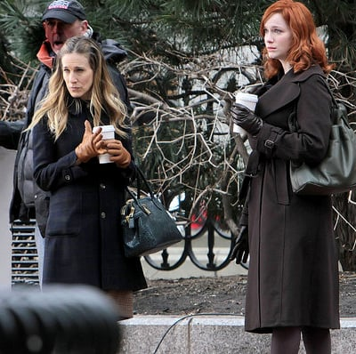 Pictures of Sarah Jessica Parker and Christina Hendricks on the Set of I Don't Know How She Does It in Boston