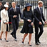 Meghan and Harry followed behind Kate and William during a London appearance.
