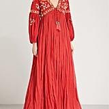 Las Noches Ibiza Tiger Pearl Embellished Cotton Gauze Maxi Dress