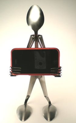 Handmade iPhone Stand Made From Spoons and Forks