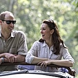 The pair looked calm and relaxed during their scenic drive through Kaziranga National Park in April.