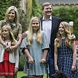 King Willem-Alexander, Queen Máxima, and Princesses Catharina-Amalia, Alexia, and Ariane in Wassenaar, The Netherlands.