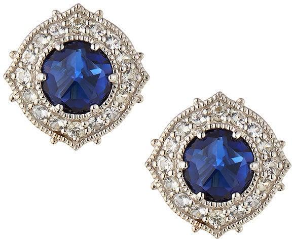 Judith Ripka Synthetic Corundum Luna Button Earrings With Sapphires ($315, originally $450)