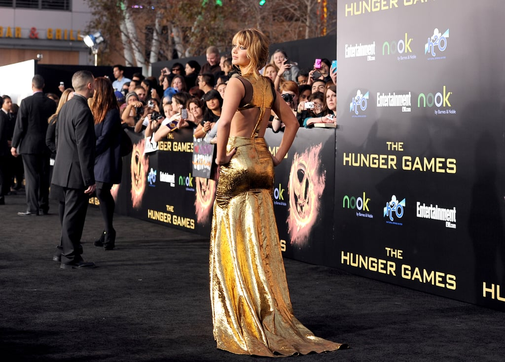 We're still in awe of Jennifer Lawrence's Hunger Games LA premiere look — both the cutout back and floor-skimming train of this Prabal Gurung gown are just gorgeous.