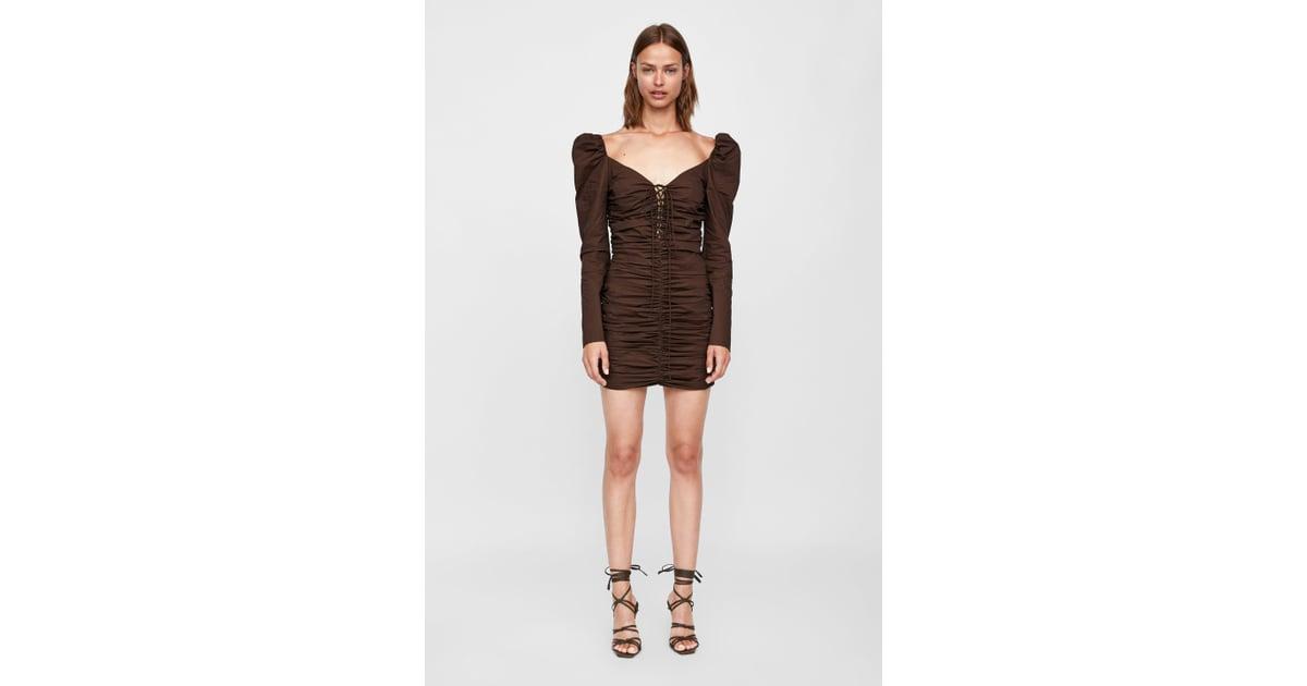 79013b93 Zara short dress with ruching ($119) | Zara Dress That Looks Like Kim  Karashian's | POPSUGAR Fashion Photo 2