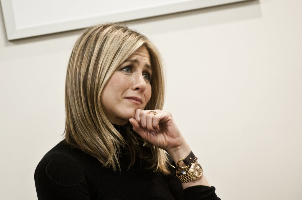 Jennifer Aniston joined Second Lady Jill Biden today in Alexandria, VA, to tour the new Inova Breast Care Center. Jennifer was brought to tears as she and Jill listened to the heart-wrenching but hopeful stories of several women who have lived through breast cancer during their visit to the clinic. The cause is one that Jill and Jennifer have both been involved with for several years. Jennifer just debuted her directorial project, the Lifetime movie Five, which is a series of short films about the disease, and her effort will be honored at the Elle Women in Hollywood celebration in the coming months. Jill, for her part, has spent two decades championing early detection and prevention of the cancer. Jennifer traveled to Virginia today from her home base in NYC, where she and Justin Theroux have been settling into their new life together.