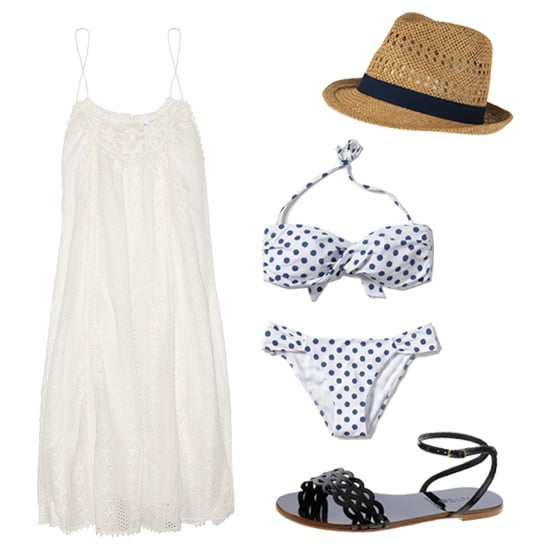 There's nothing like a classic take on poolwear. To channel your best version of Americana cool, try on this supercute polka-dot bikini with a breezy cotton LWD. You don't need much else in the way of flair — a straw fedora and sleek ankle-strap sandal prove polished accessories that won't overwhelm your minimalist poolside style. Get the Look:   Zimmerman Devoted Broderie Anglaise Cotton Dress ($420)  Zara Crossed Band Polka Dot Bikini ($20)  Zara Polka Dot Bikini Briefs ($20)  Forever 21 Classic Straw Fedora ($13)  J.Crew Inez Patent Sandals ($98, originally $128)