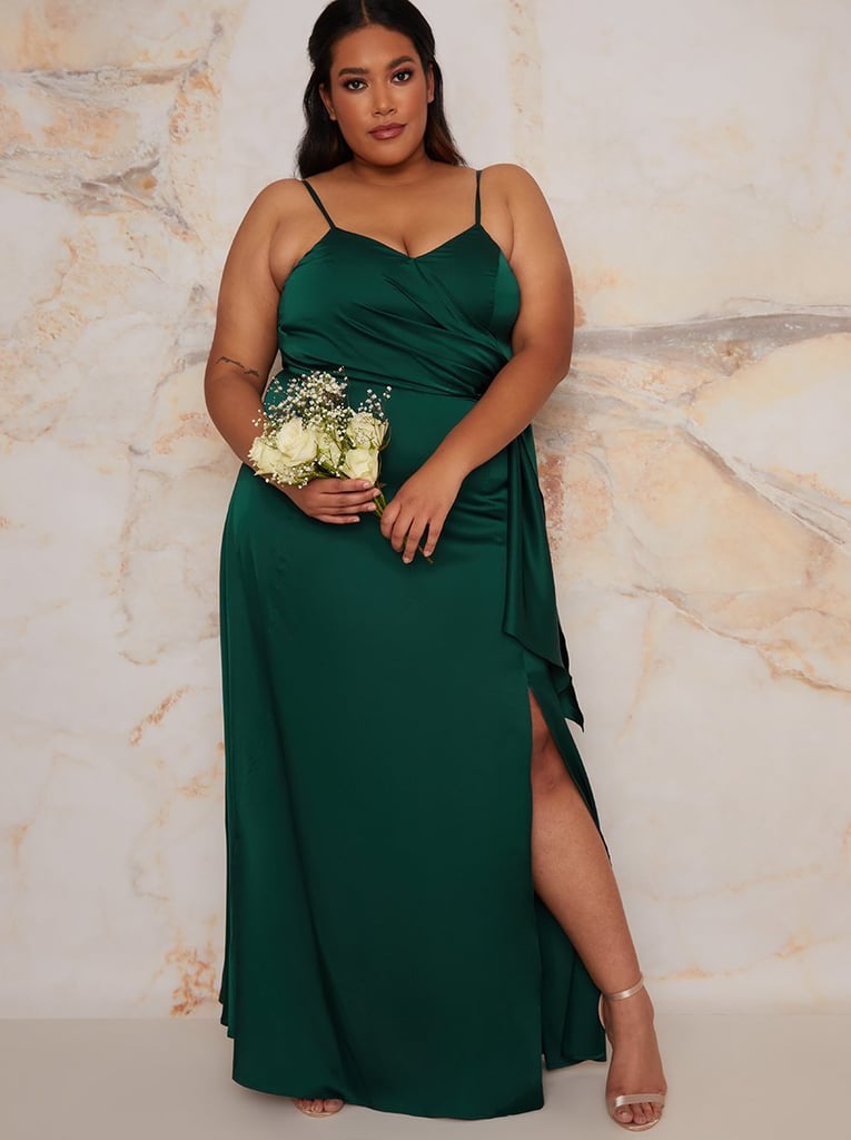Chi Chi London Plus Size Satin Finish Drape Maxi Dress in Green