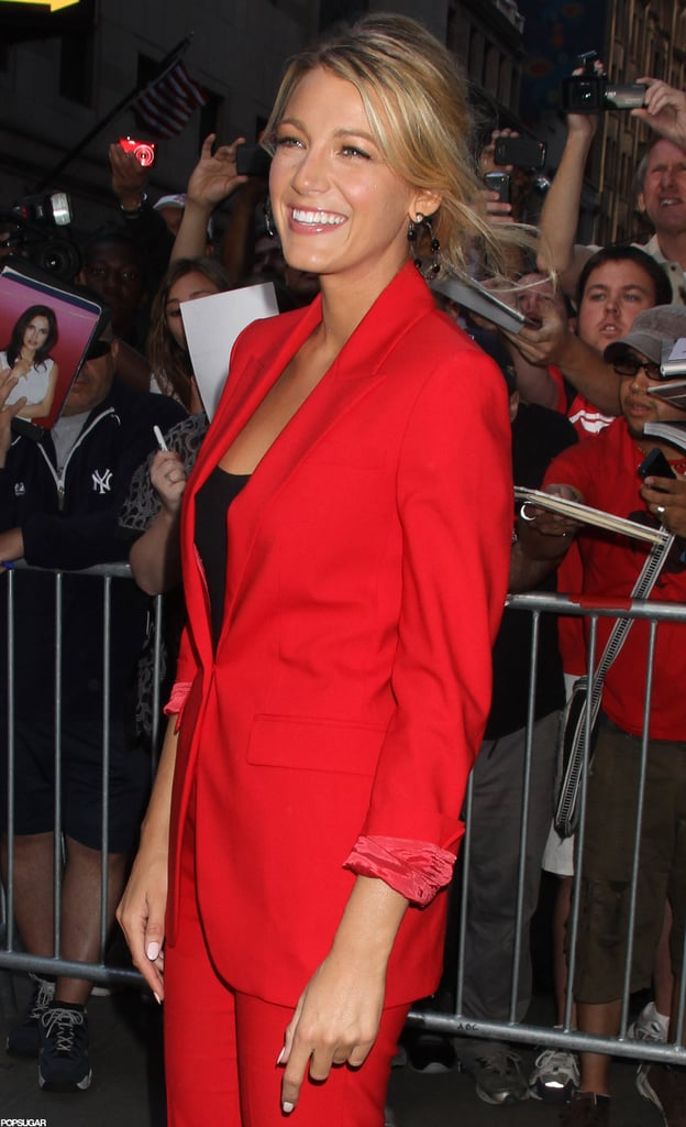 Blake Lively posed outside of GMA.