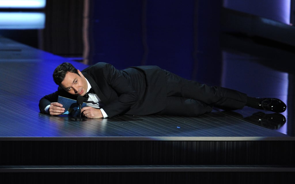 Jimmy Fallon had some microphone issues when he presented an Emmy.