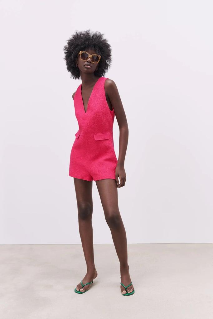 Zara Short Textured Weave Jumpsuit