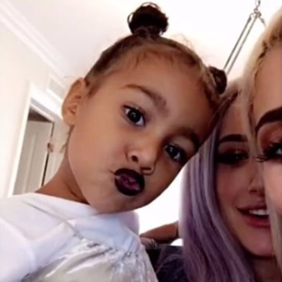 North West Wearing Kylie Jenner Lip Kit