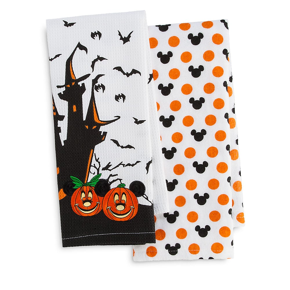 mickey and minnie mouse halloween kitchen towel set ($22) | disney