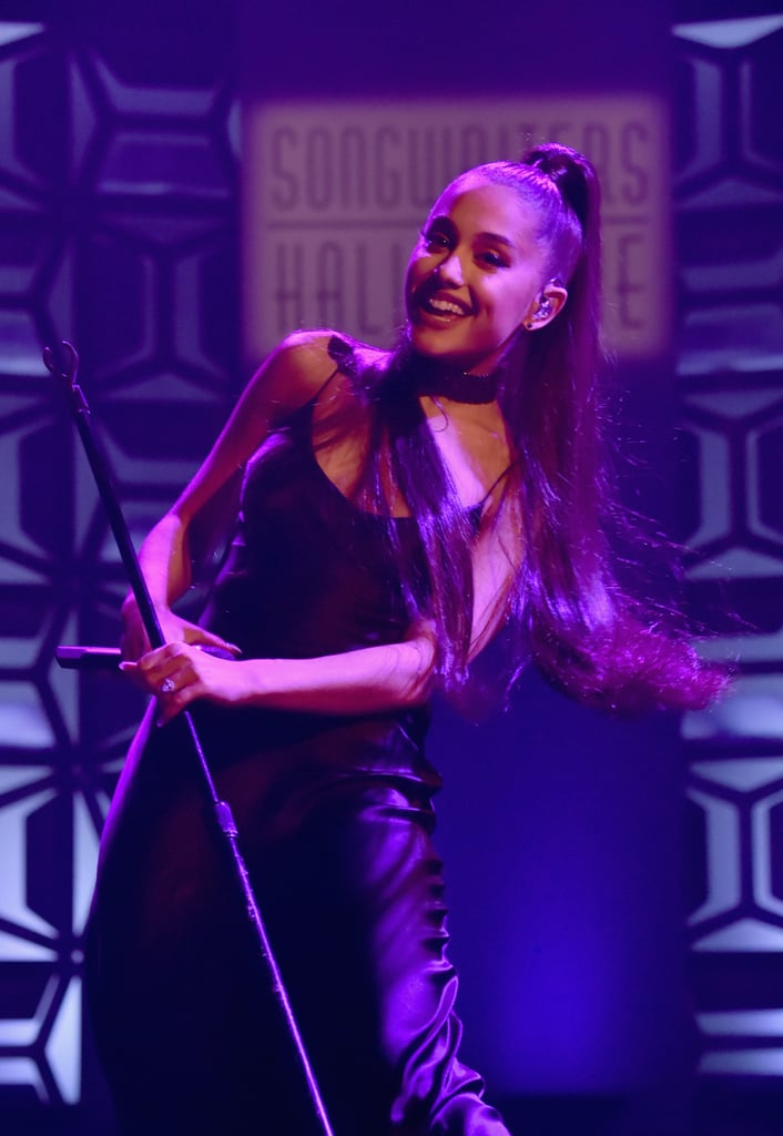 """Ariana Grande gave a showstopping performance at the Songwriters Hall of Fame 49th Annual Induction and Awards Dinner in NYC on Thursday, but we couldn't take our eyes off of the giant diamond engagement ring she recently received from her new fiancé, Pete Davidson. The 24-year-old entertainer has been dating the Saturday Night Live star for only a few weeks, but apparently, that was more than enough time for them to fall head over heels. Pete already has two tattoos inspired by the """"No Tears Left to Cry"""" singer, and proposed to her with a $100,000 ring custom-made by NYC jeweler Greg Yuna earlier this month. The couple is reportedly in no rush """"to get married,"""" but from the look on Ariana's face, she's clearly smitten by her latest flame. Keep reading to see more photos her massive rock ahead.      Related:                                                                                                           All the Photos Ariana Grande and Pete Davidson Have Shared Together — So Far"""