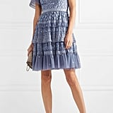 Needle & Thread Iris Tiered Lace-Trimmed Embroidered Tulle Mini Dress