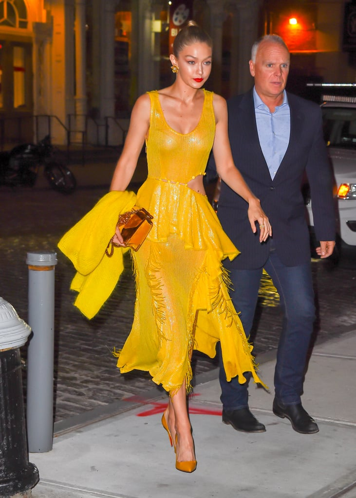 She Wore the Dress With Mustard Pumps and Matching Floral Earrings By Lorraine Schwartz
