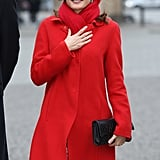 Queen Letizia of Spain bundled up for a brisk day in Berlin on Monday.