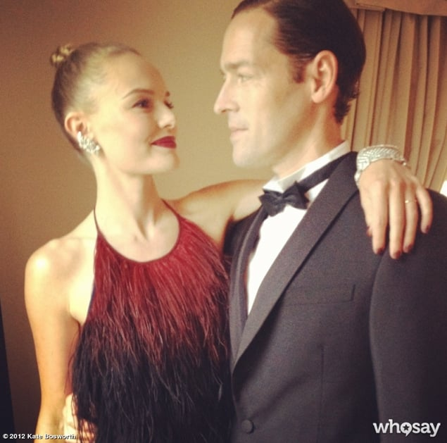 Kate Bosworth shared an embrace with boyfriend Michael Polish prior to the Met gala.  Source: Kate Bosworth on WhoSay
