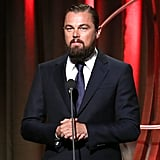Leonardo DiCaprio (and his beard) took the podium at the Clinton Global Citizen Awards on Sunday night in New York.