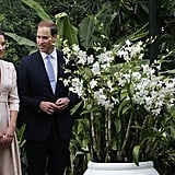 Kate Middleton and Prince William attended an orchid-naming ceremony in honor of Princess Diana in Singapore.