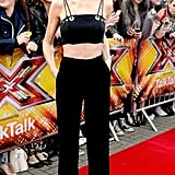 At the Manchester auditions for The X Factor 2015, Cheryl flashed her tummy in a Mugler crop top.