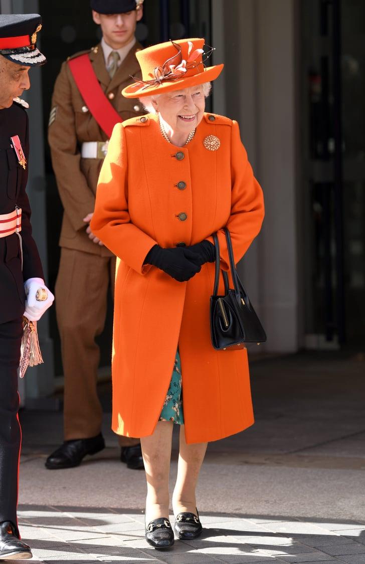queen elizabeth ii's orange outfit march 2019  popsugar