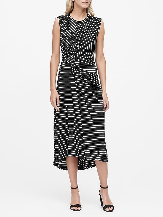 Stripe Twist-Front Midi Dress
