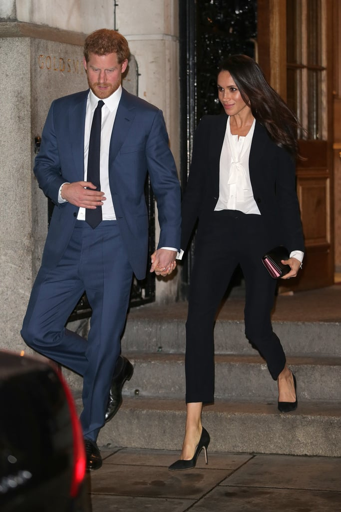 Prince Harry and Meghan Markle made a glamorous pair as they arrived at the Endeavour Fund Awards at Goldsmith's Hall in London on Thursday evening. Harry looked handsome in a blue suit, while Meghan stunned in a black pantsuit and white blouse. The award ceremony is organized by The Endeavour Fund, which was set up in 2012 by Prince Harry and the Duke and Duchess of Cambridge with the aim of supporting the recovery of wounded, injured, and sick servicemen and women, encouraging them to rediscover their self-belief through sport and adventure. The awards celebrate the achievements of people who have taken part in such endeavors in 2017.  Ahead of the ceremony, Harry and Meghan met some of the worthy nominees and also chatted to adventurer and author Levison Wood, a former serviceman himself, who was recently announced as the first ever ambassador of the fund. As always, the engaged couple looked relaxed and happy to be in each other's company, getting us even more excited for their upcoming wedding.      Related:                                                                                                           Prince Harry and Meghan Markle Have Released More Details of Their Upcoming Wedding